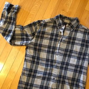 Grey & Blue Plaid Flannel Shirt